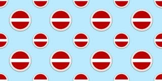 Modelo inconsútil de la bandera de la ronda de Letonia Fondo letón Iconos del círculo del vector Símbolos geométricos Texturice p ilustración del vector