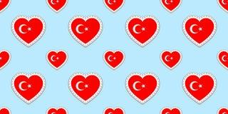 Modelo inconsútil de la bandera de Turquía El turco del vector señala stikers por medio de una bandera Símbolos de los corazones  Ilustración del Vector
