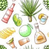 Modelo inconsútil de la bebida del Tequila, decoración de la barra de la bebida libre illustration