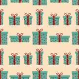 Modelo inconsútil de la caja de regalo con los corazones decorativos El illustartion del vector se puede utilizar para el fondo,  ilustración del vector