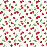 Modelo inconsútil de la cereza, cerezas rojas y fondo blanco para los proyectos de diseño el scrapbooking, del giftwrap, de la te ilustración del vector