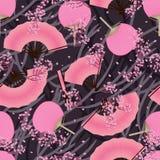 Modelo inconsútil de la cereza de la fan del rosa japonés Fotos de archivo
