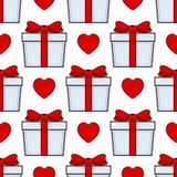 Modelo inconsútil de la cinta roja blanca del regalo libre illustration