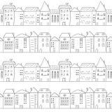 Modelo inconsútil de la ciudad Casas del garabato ilustración del vector