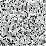 Modelo inconsútil de la ciudad isométrico stock de ilustración