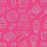 Modelo inconsútil de la comida dulce con la línea plana iconos Ejemplos del vector de los pasteles - piruleta, barra de chocolate ilustración del vector