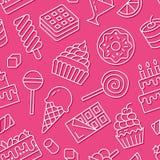 Modelo inconsútil de la comida dulce con la línea plana iconos Ejemplos del vector de los pasteles - piruleta, barra de chocolate libre illustration