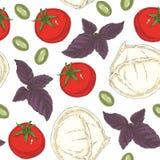 Modelo inconsútil de la comida italiana Imagen de archivo