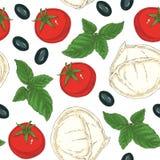 Modelo inconsútil de la comida italiana Foto de archivo libre de regalías