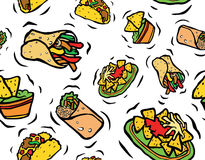 Modelo inconsútil de la comida mexicana Imagenes de archivo