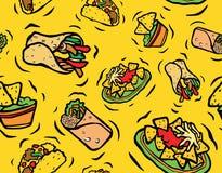 Modelo inconsútil de la comida mexicana Fotografía de archivo libre de regalías