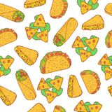Modelo inconsútil de la comida mexicana Fondo con el burrito, t del garabato Fotos de archivo