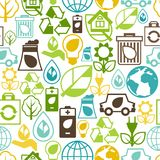 Modelo inconsútil de la ecología con los iconos del ambiente Imagenes de archivo