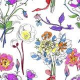 Modelo inconsútil de la elegancia abstracta con el fondo floral Foto de archivo libre de regalías