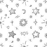 Modelo inconsútil de la estrella del garabato Elementos mágicos del bosquejo del partido, símbolos gráficos ornamentales deco stock de ilustración