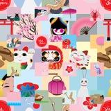 Modelo inconsútil de la etiqueta engomada del cuadrado de Japón de la visita Fotografía de archivo libre de regalías