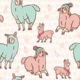 Modelo inconsútil de la familia de la llama de la alpaca de la historieta de los colores en colores pastel libre illustration