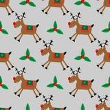 Modelo inconsútil de la Feliz Navidad con los ciervos y el acebo del trasero fotos de archivo