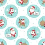 Modelo inconsútil de la Feliz Navidad con Santa Claus linda stock de ilustración