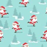 Modelo inconsútil de la Feliz Navidad con Santa Claus patinadora stock de ilustración