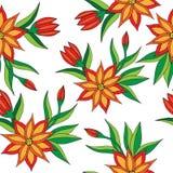 Modelo inconsútil de la flor anaranjada en el fondo blanco Imagenes de archivo