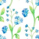 Modelo inconsútil de la flor azul de la acuarela Foto de archivo libre de regalías