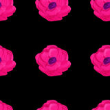 Modelo inconsútil de la flor de la anémona de la acuarela Fotos de archivo