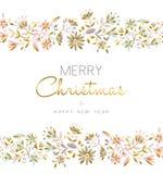 Modelo inconsútil de la flor del oro para la estación de la Navidad Imágenes de archivo libres de regalías