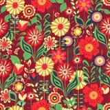 Modelo inconsútil de la flor del verano en fondo rojo ilustración del vector