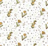 Modelo inconsútil de la flor en el ejemplo del vector del estilo del garabato del kawaii libre illustration