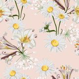 Modelo inconsútil de la flor de la primavera con los lirios y las flores hermosos de la manzanilla en plantilla beige del fondo ilustración del vector