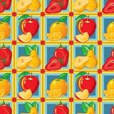 Modelo inconsútil de la fresa madura, manzana, naranja, pera Imágenes de archivo libres de regalías