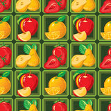 Modelo inconsútil de la fresa madura, manzana, naranja, pera Fotos de archivo