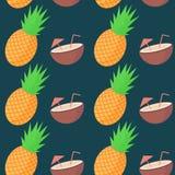 Modelo inconsútil de la fruta de la piña y del coco del vector Imagenes de archivo