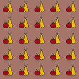 Modelo inconsútil de la fruta - manzana y pera Imagenes de archivo