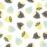 Modelo inconsútil de la fruta moderna Fondo con los limones Grande para la tela de los niños, la materia textil, el etc Ilustraci Fotos de archivo libres de regalías