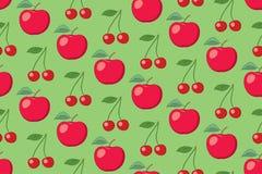 Modelo inconsútil de la fruta verde del vector con las manzanas y las cerezas Foto de archivo