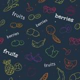 Modelo inconsútil de la fruta y de la baya Fotografía de archivo