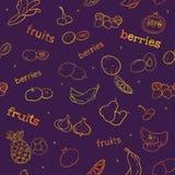 Modelo inconsútil de la fruta y de la baya Foto de archivo