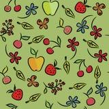 Modelo inconsútil de la fruta y de las bayas Fotografía de archivo libre de regalías