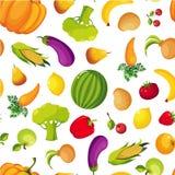 Modelo inconsútil de la fruta y verdura fresca colorida de la granja, ejemplo sano del vector de la comida ilustración del vector