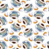 Modelo inconsútil de la galleta de la taza del capuchino del café de la acuarela libre illustration