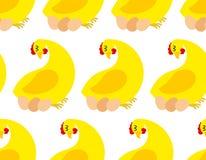 Modelo inconsútil de la granja de pollo Fondo del vector de pollos y stock de ilustración