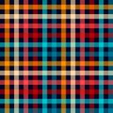 Modelo inconsútil de la guinga de la tela a cuadros colorida de la tela escocesa en rojo blanco y amarillo azules, impresión del  Imagenes de archivo