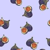 Modelo inconsútil de la historieta del estilo de las frutas lindas de los higos stock de ilustración