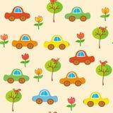 Modelo inconsútil de la historieta del transporte con los coches Imagen de archivo libre de regalías