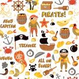 Modelo inconsútil de la historieta del vector de los piratas Fondo del partido de las aventuras y del pirata para la guardería Av stock de ilustración