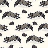 Modelo inconsútil de la historieta linda del mapache Teja urbana exhausta de la fauna de la mano stock de ilustración