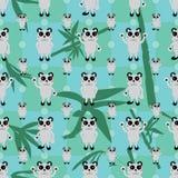 Modelo inconsútil de la hoja de bambú de la simetría de la panda de la historieta stock de ilustración