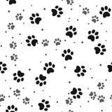 Modelo inconsútil de la impresión de la pata del perro en el fondo blanco stock de ilustración